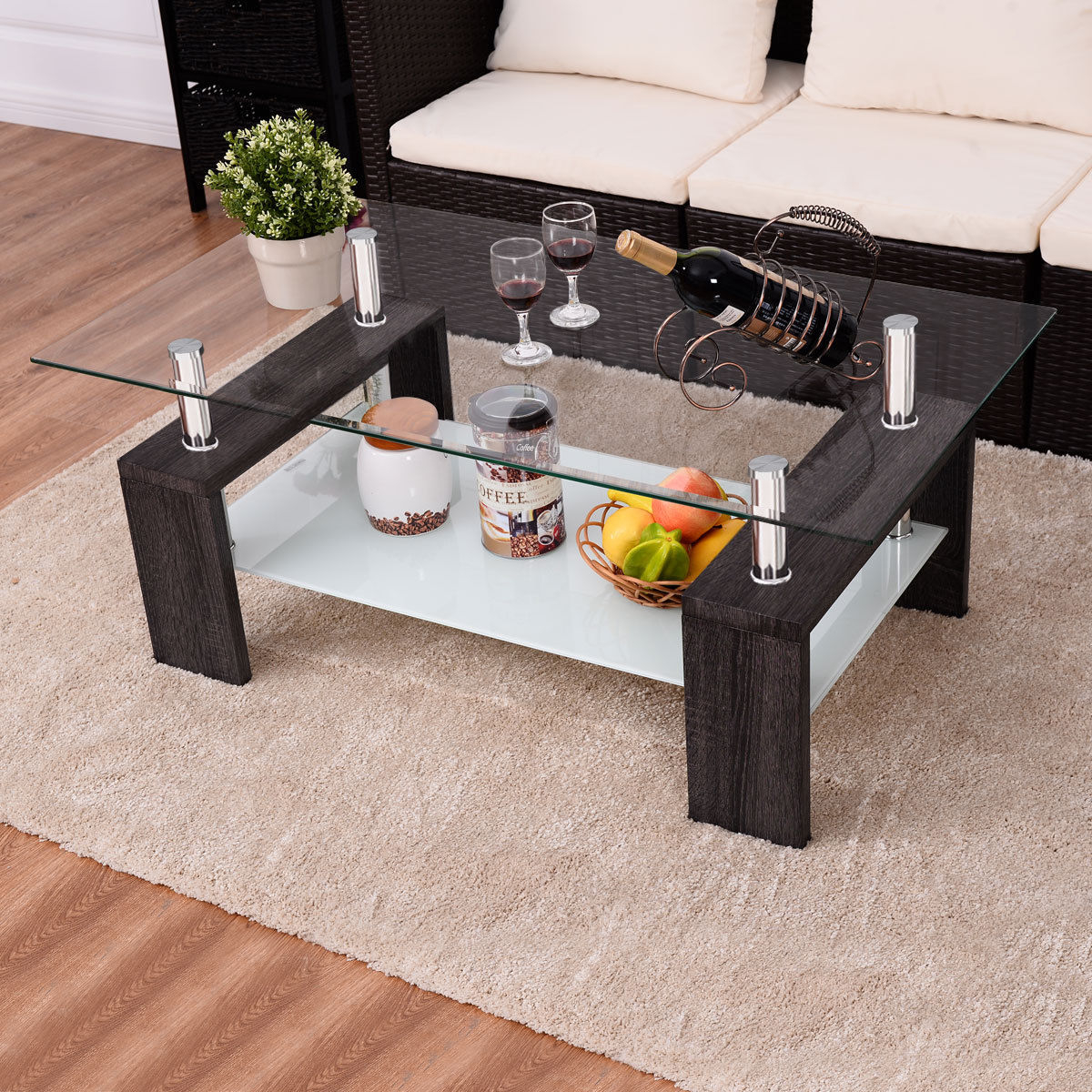 Colm Rectangular Tempered Glass Coffee Table