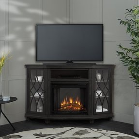 "Corner unit TV Stand for TVs up to 60"" with Electric Fireplace Included"
