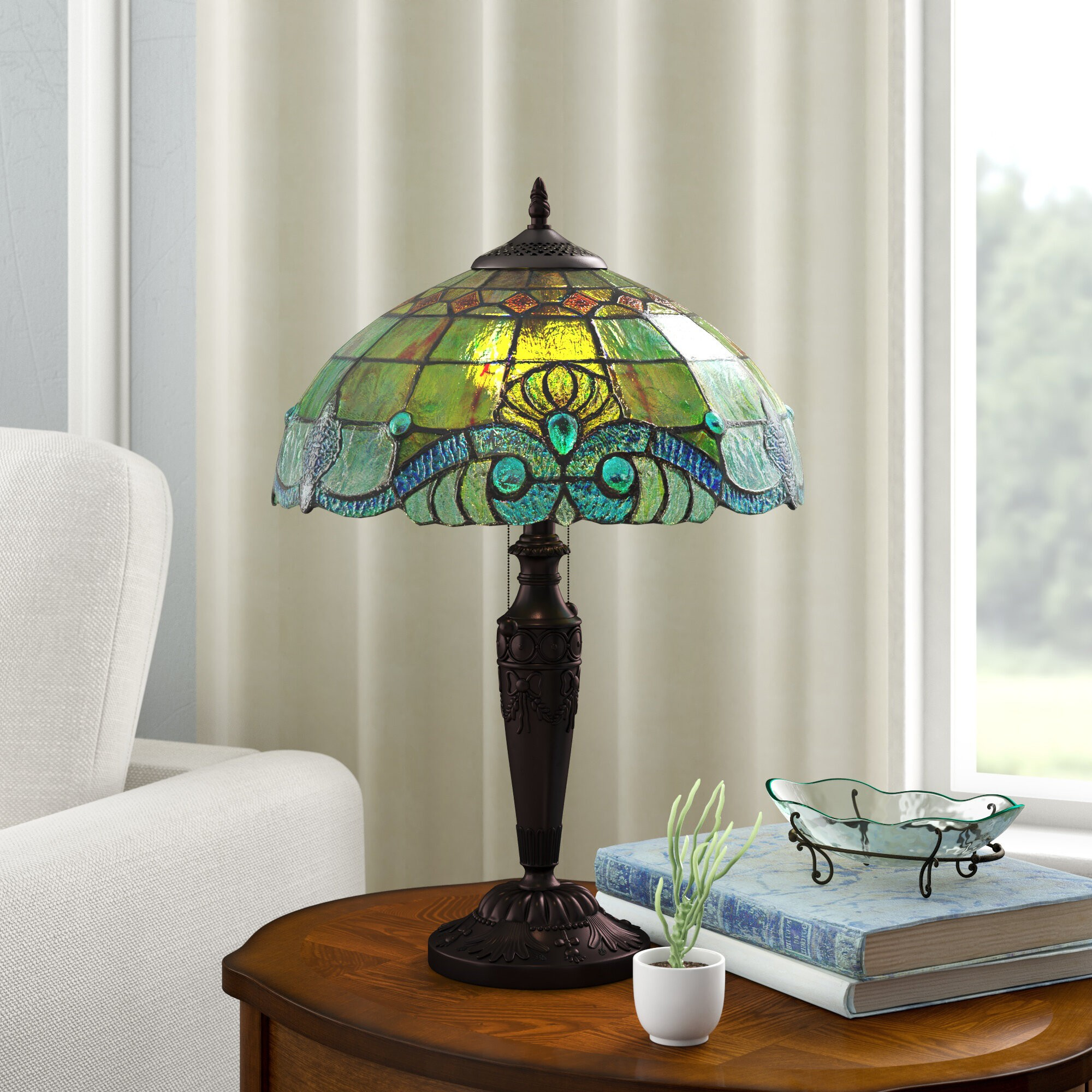 "Cristy Stained Glass 20.25"" Table Lamp"