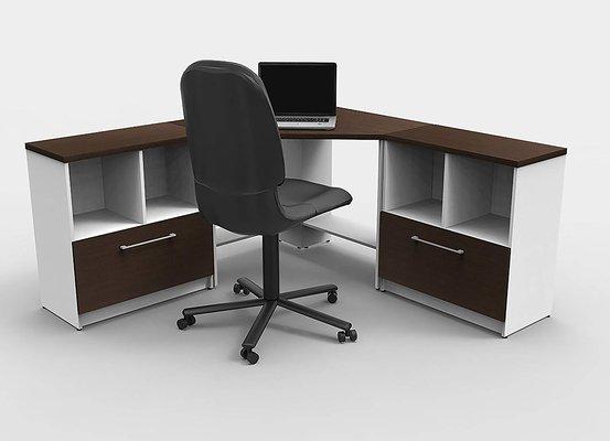 Dark Brown Manufactured Wood Corner Executive Desk