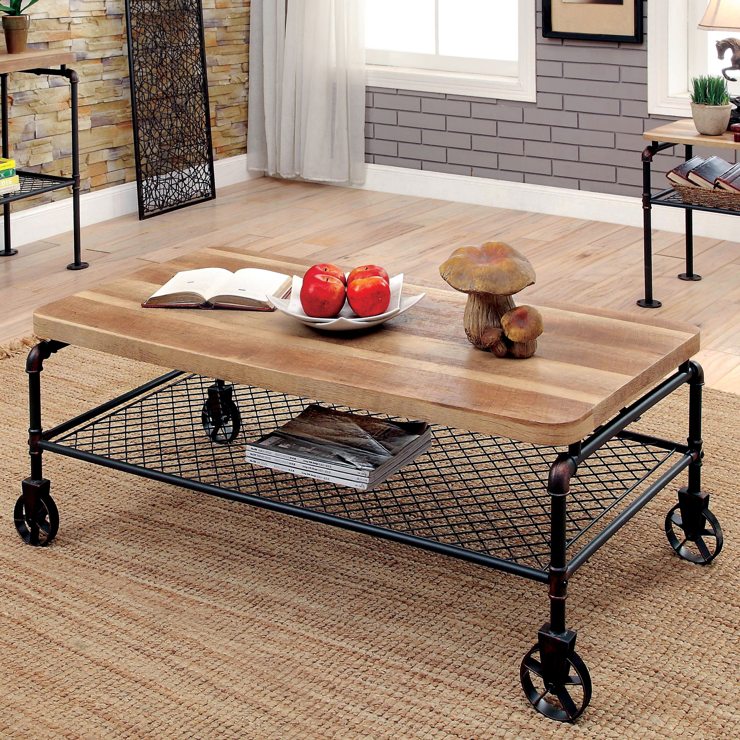 Industrial Coffee Table With Wheels Ideas On Foter