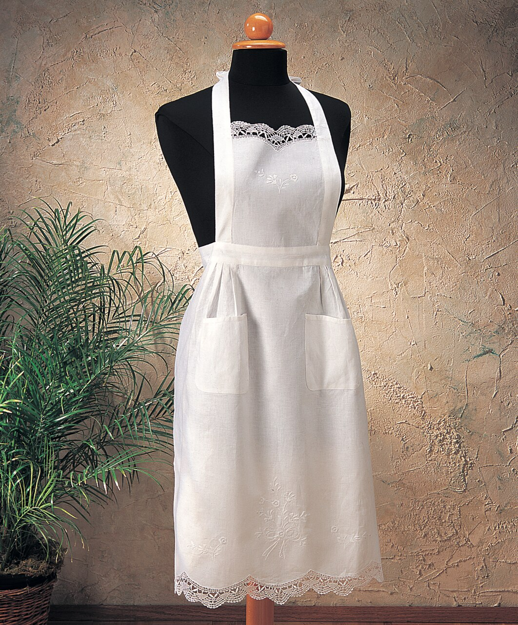 Embroidered and Cluny Apron