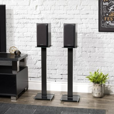 Engineered Wood Tempered Glass Steel Aluminium Fixed Height Speaker Stand