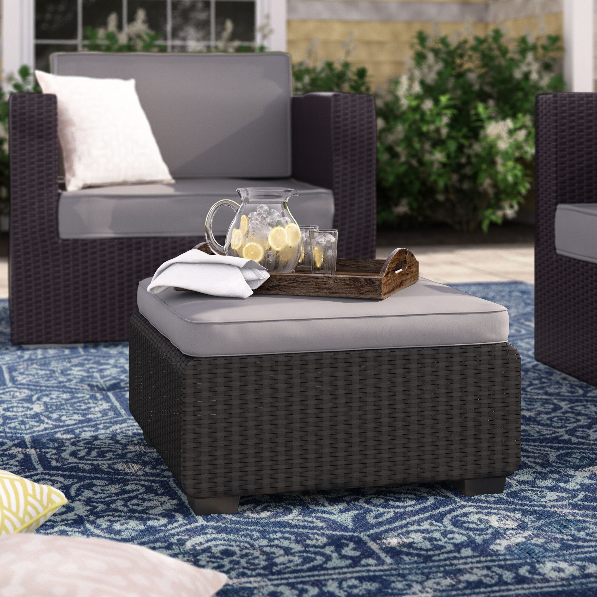 Halloran Outdoor Ottoman with Sunbrella Cushions