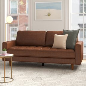 "Idris Leather 80"" Square Arms Sofa"