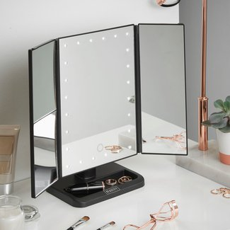 LED Lighted Vanity Trifold Makeup/Shaving Mirror