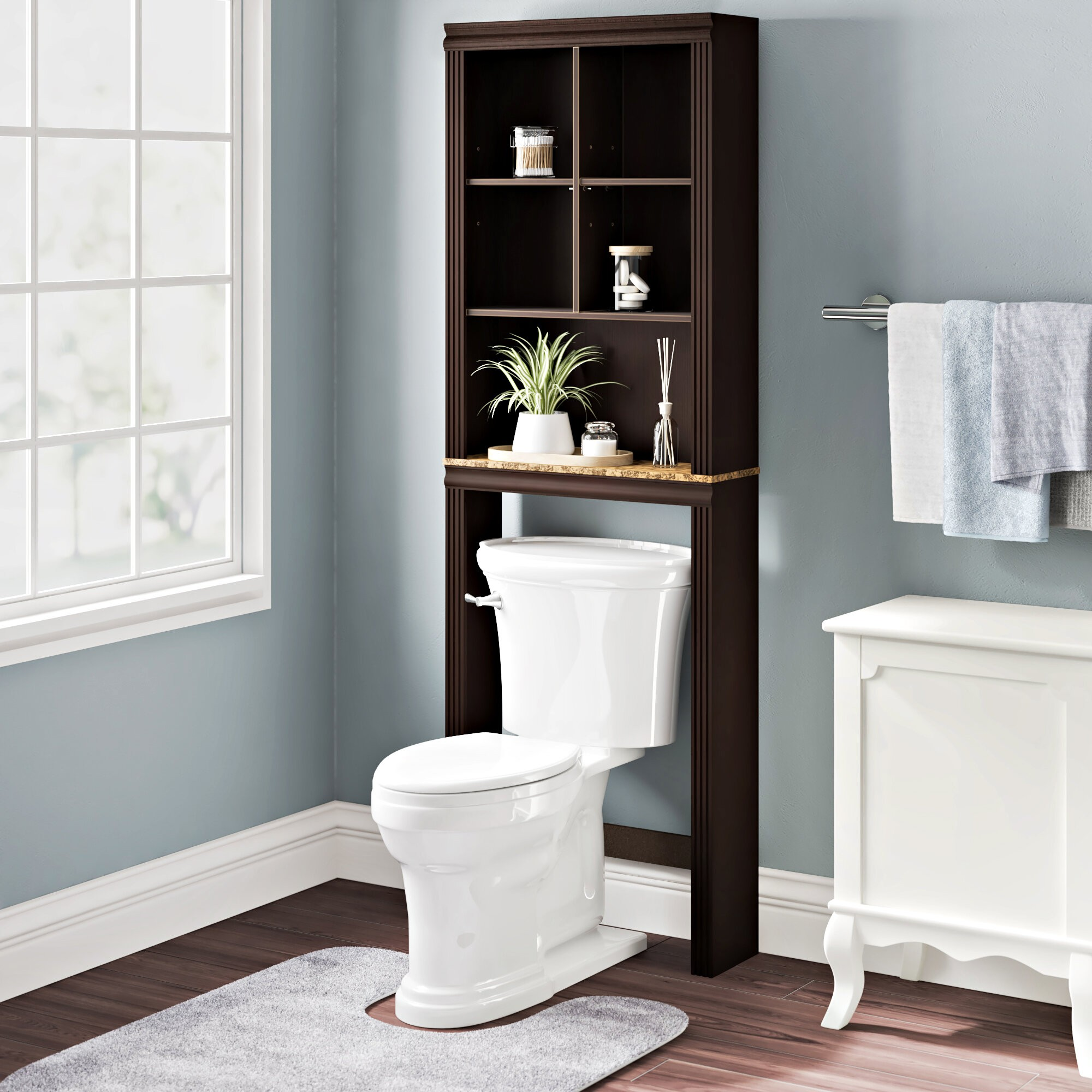 "Milledgeville 23.307"" W x 68.583"" H x 7.402"" D Over-The-Toilet Storage"