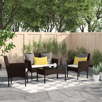 Moro 4 Piece Rattan Sofa Seating Group with Cushions