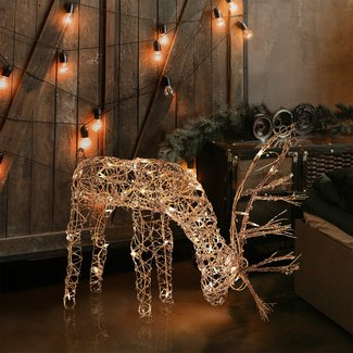 Outdoor/Indoor Christmas Grazing Reindeer Lighted Display