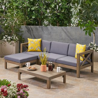 Reina Outdoor 5 Piece Sectional Seating Group with Cushions