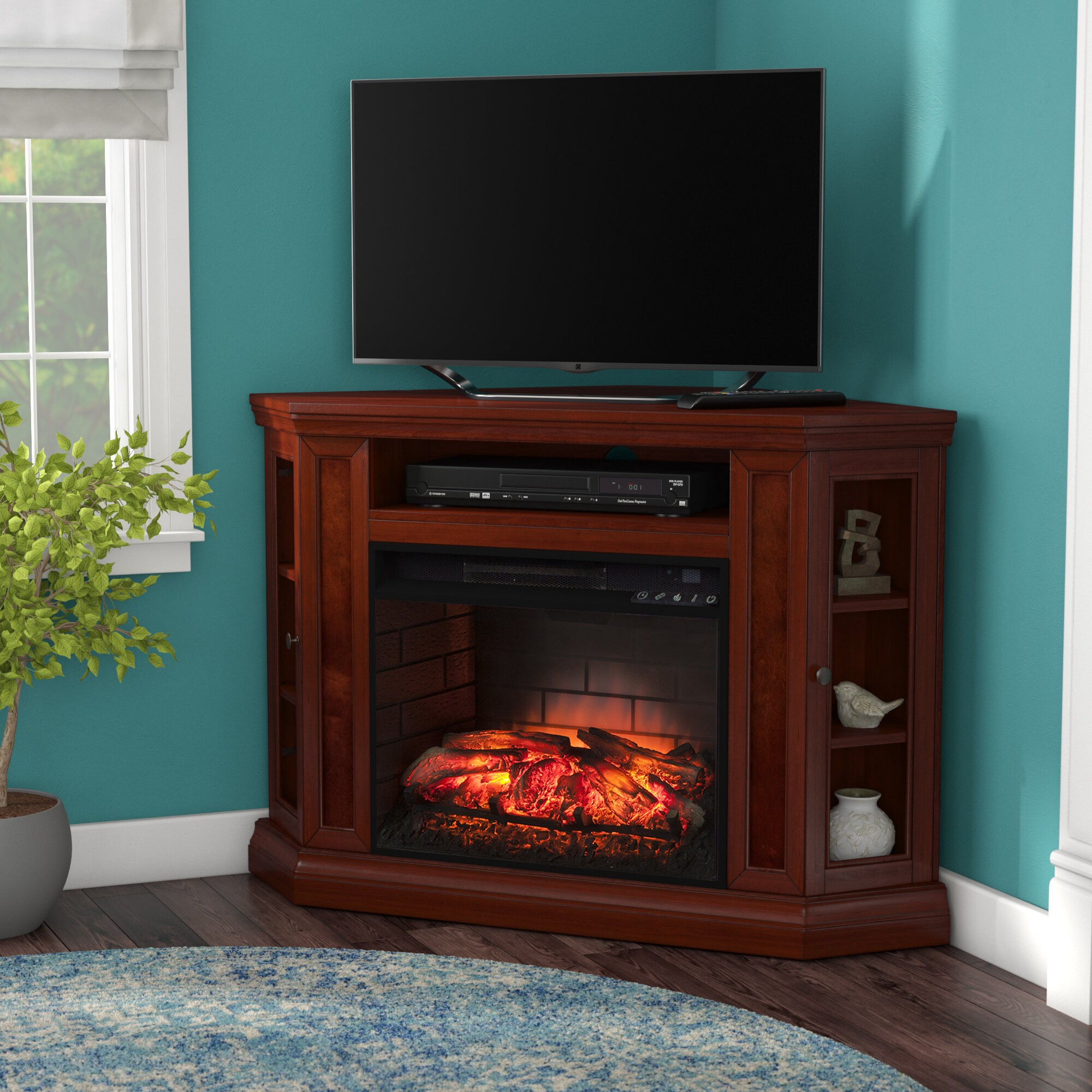 "Shanks Corner TV Stand for TVs up to 55"" with Fireplace Included"