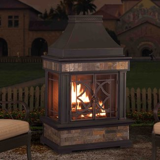 Sofie Steel Wood Burning Outdoor Fireplace
