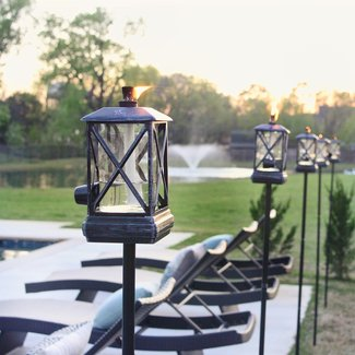 Square Beacon Metal Garden Torch (Set of 2)