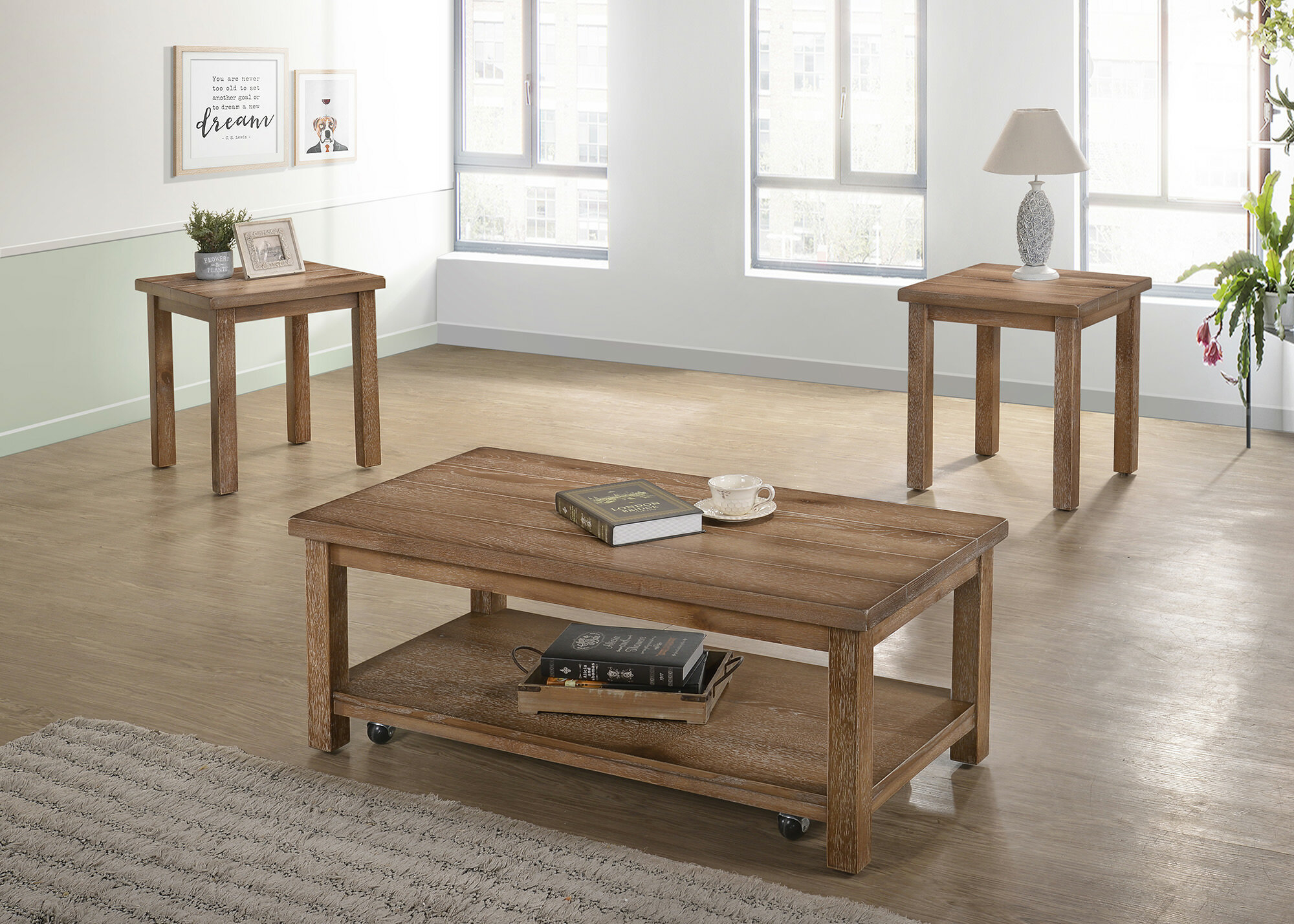 Tapley 3 Piece Coffee Table Set