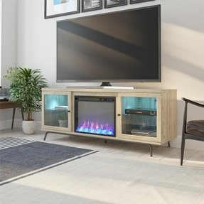 "Thoma TV Stand for TVs up to 70"" with Electric Fireplace Included"