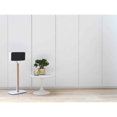 White Oak Solid Hardwood Aluminum Steel Glass Floor Speaker Stand