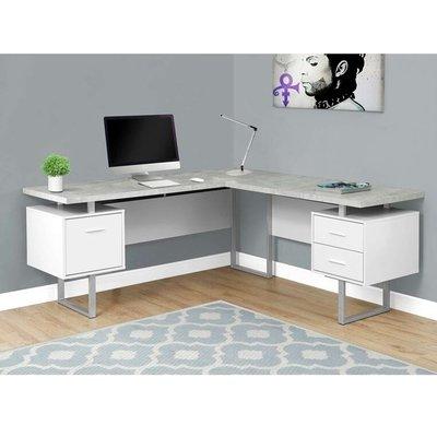 White Stylish Manufactured Wood L Shaped Desk