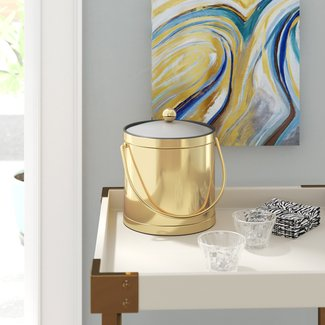 Whobrey 3 Qt Ice Bucket with Lucite Cover in Polished Brass