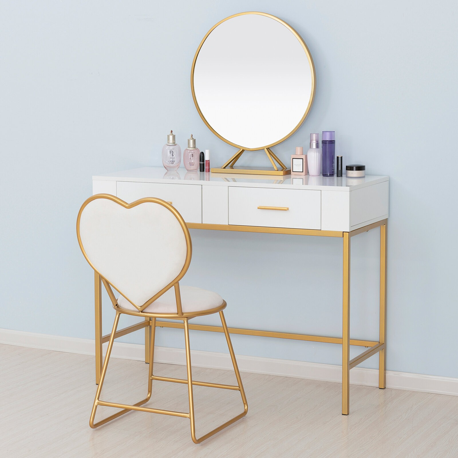 Barboza Table Vanity Set with Stool and Mirror