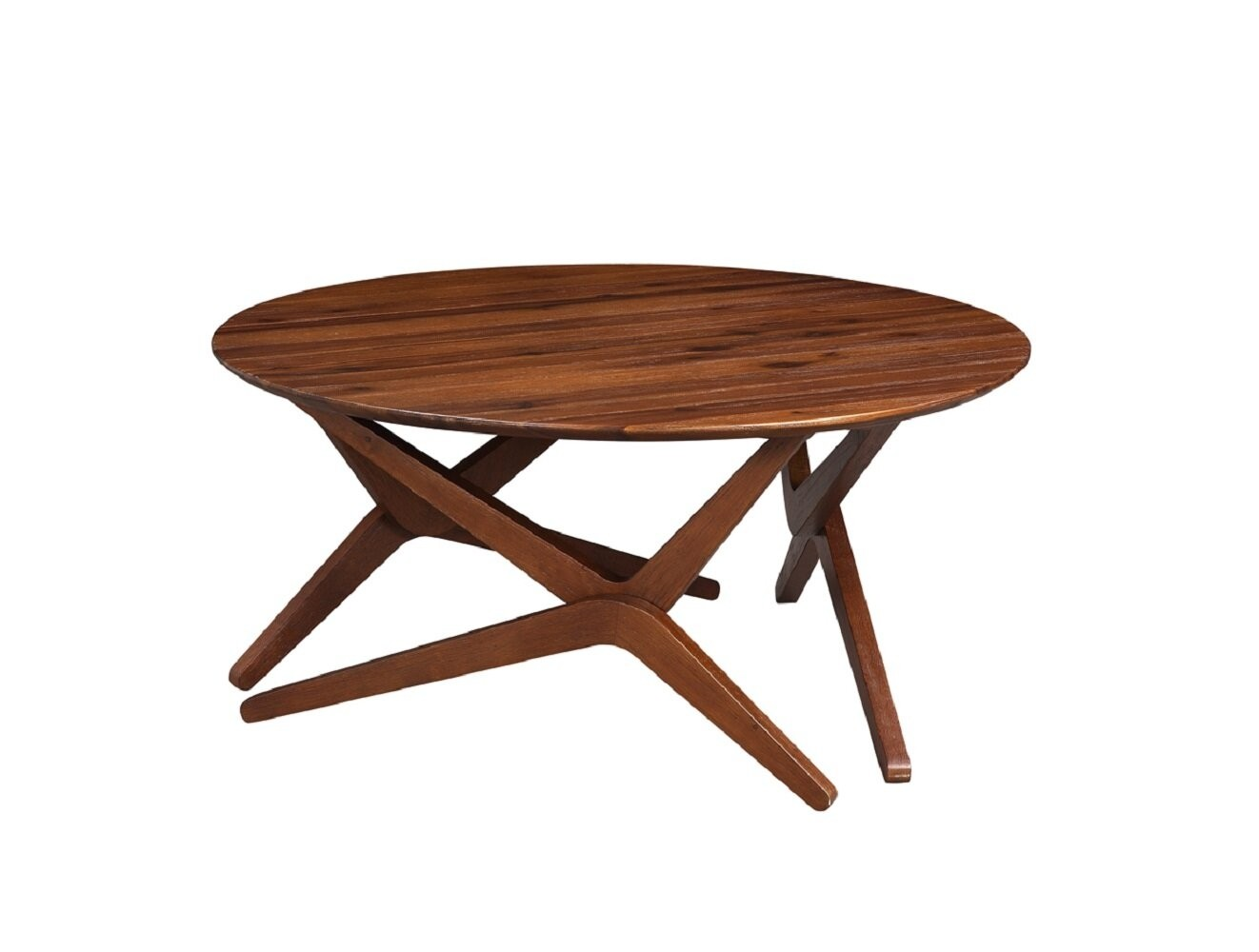 Benjara Round Wooden Adjustable Table with Boomerang Legs, Brown