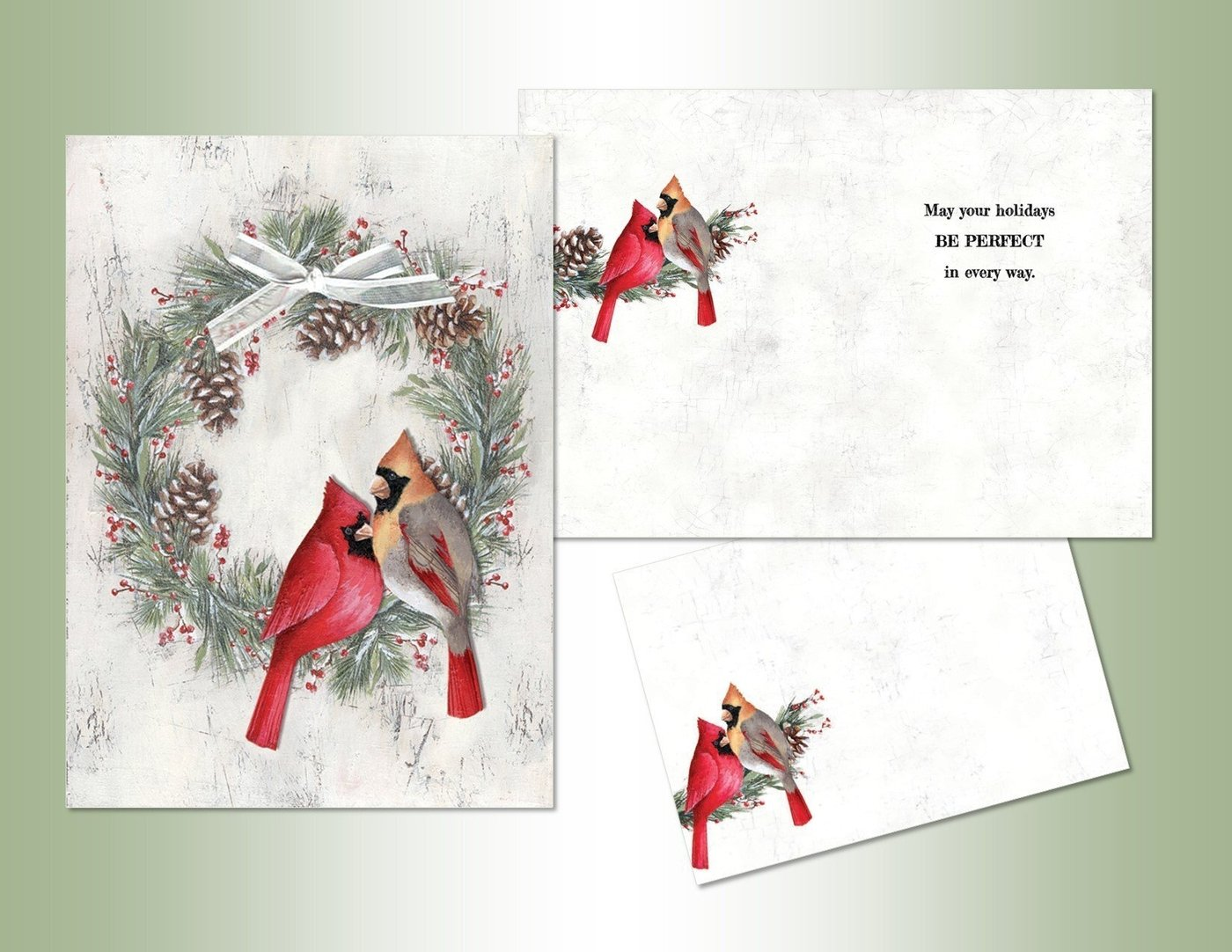 Cardinals and Wreath Hand Embellished Card Set