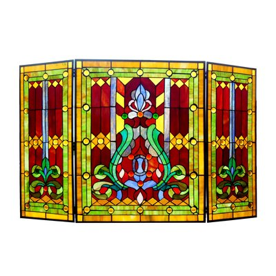 Colorful 3 Panel Bronze Fireplace Screen