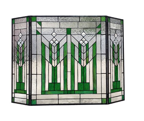 Folding 3 Panel Glass Fireplace Screens