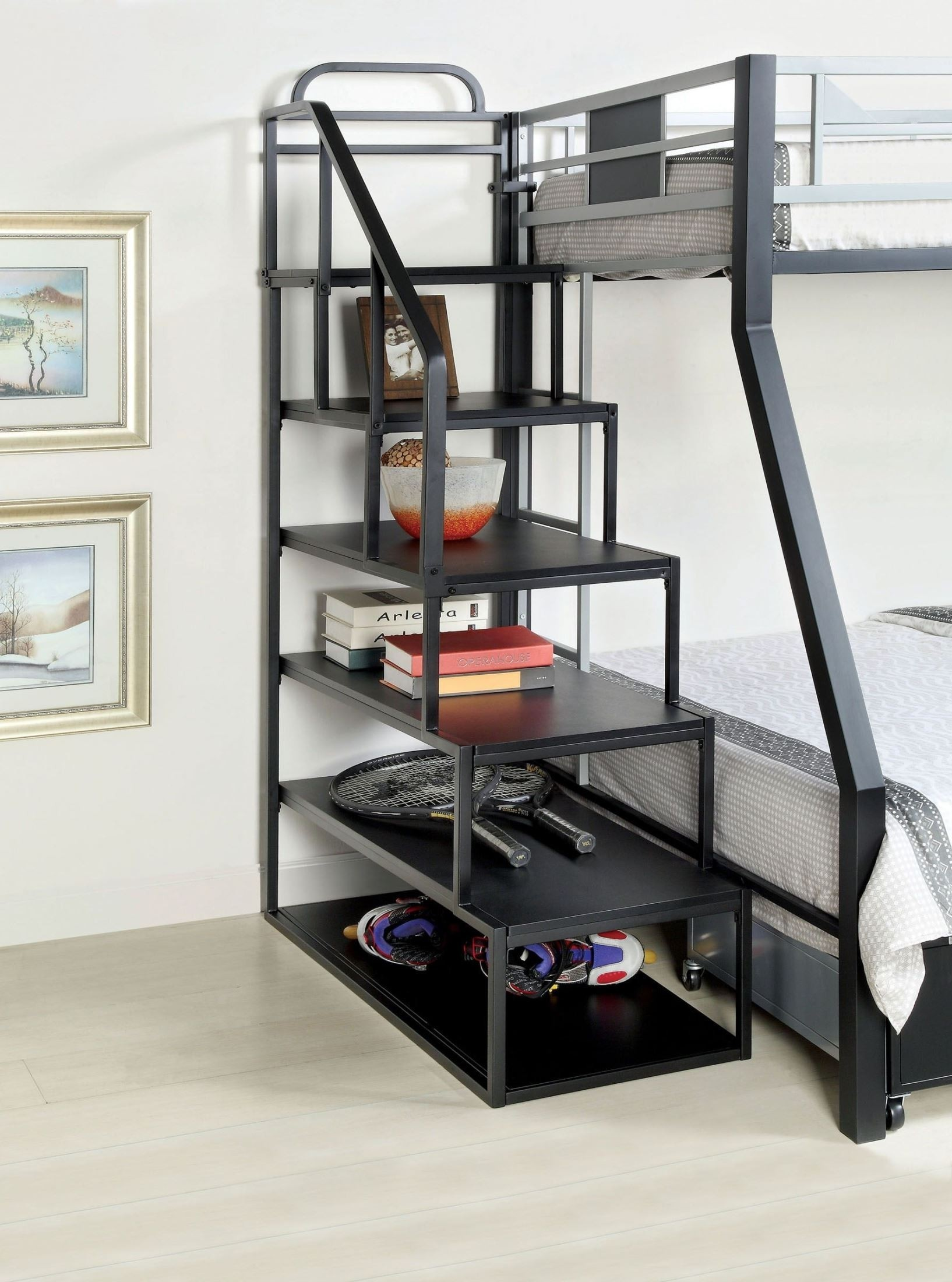 Furniture of America Metal Bunk Bed Side Ladder Bookshelf, Silver and Black Finish, Full (IDF-L1041)