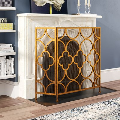 Gold 3 Panel Iron Fireplace Screen