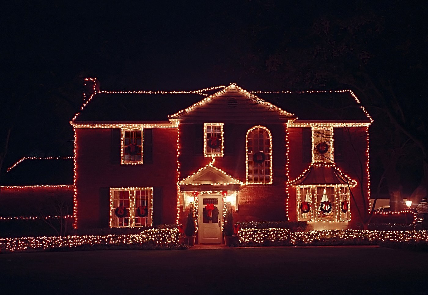 House Decorated with Christmas Lighting