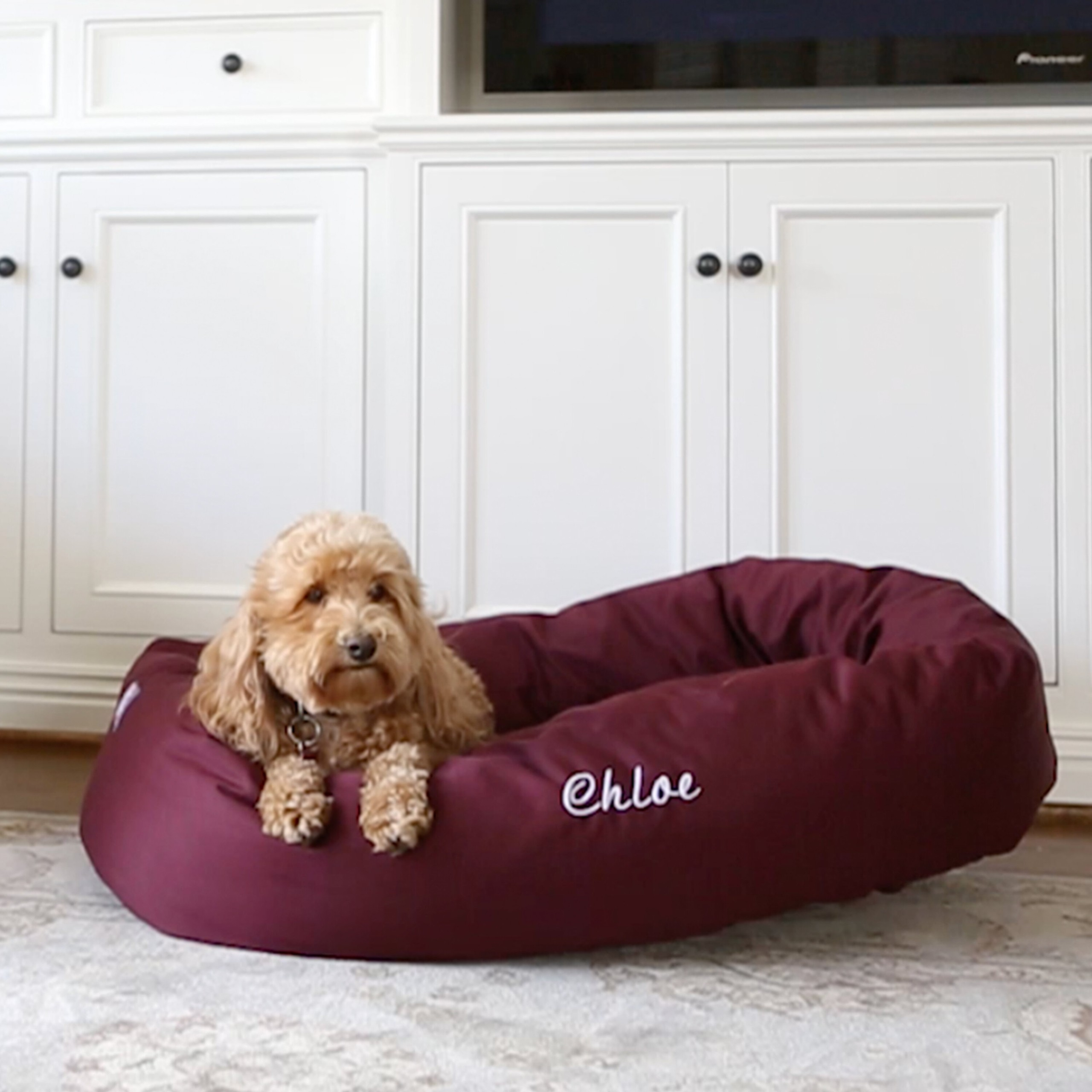 Majestic Pet Personalized Bagel Donut Bolster Dog Bed