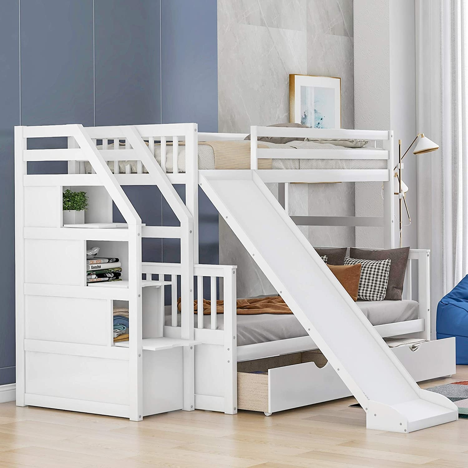 Twin Over Full Bunk Bed With Slide Ideas On Foter