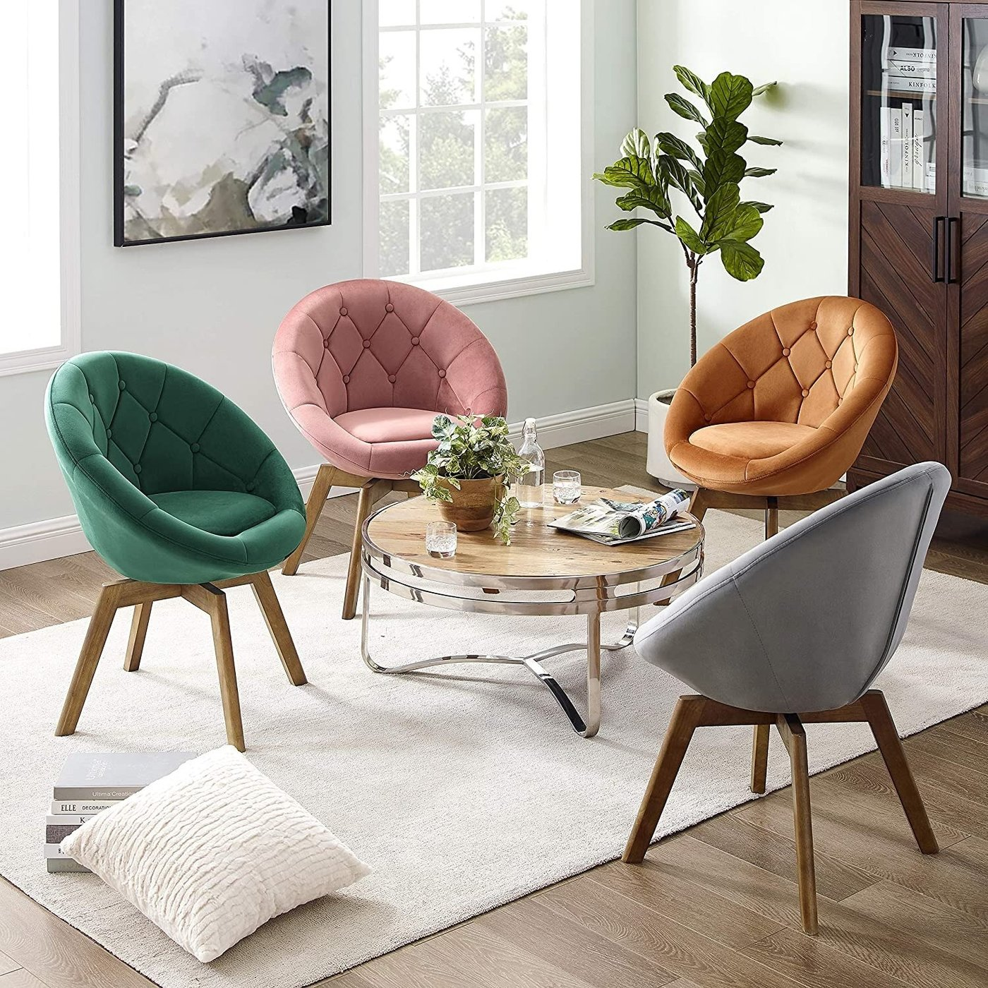 Multi-color Papasan Chair Set