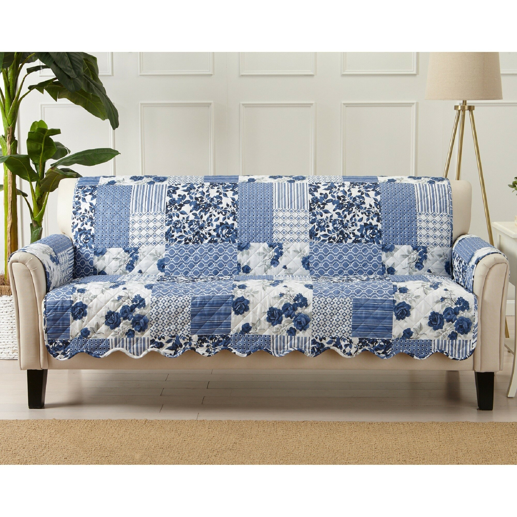 Patchwork Scalloped Printed Box Cushion Sofa Slipcover