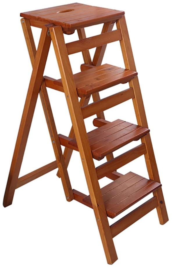 Plant Racks 4 Step Stool Ladder for Adults & Kids | Wooden Folding Stepladder Wood | Small Foot Stools Indoor | Portable Shoe Bench/Flower Rack