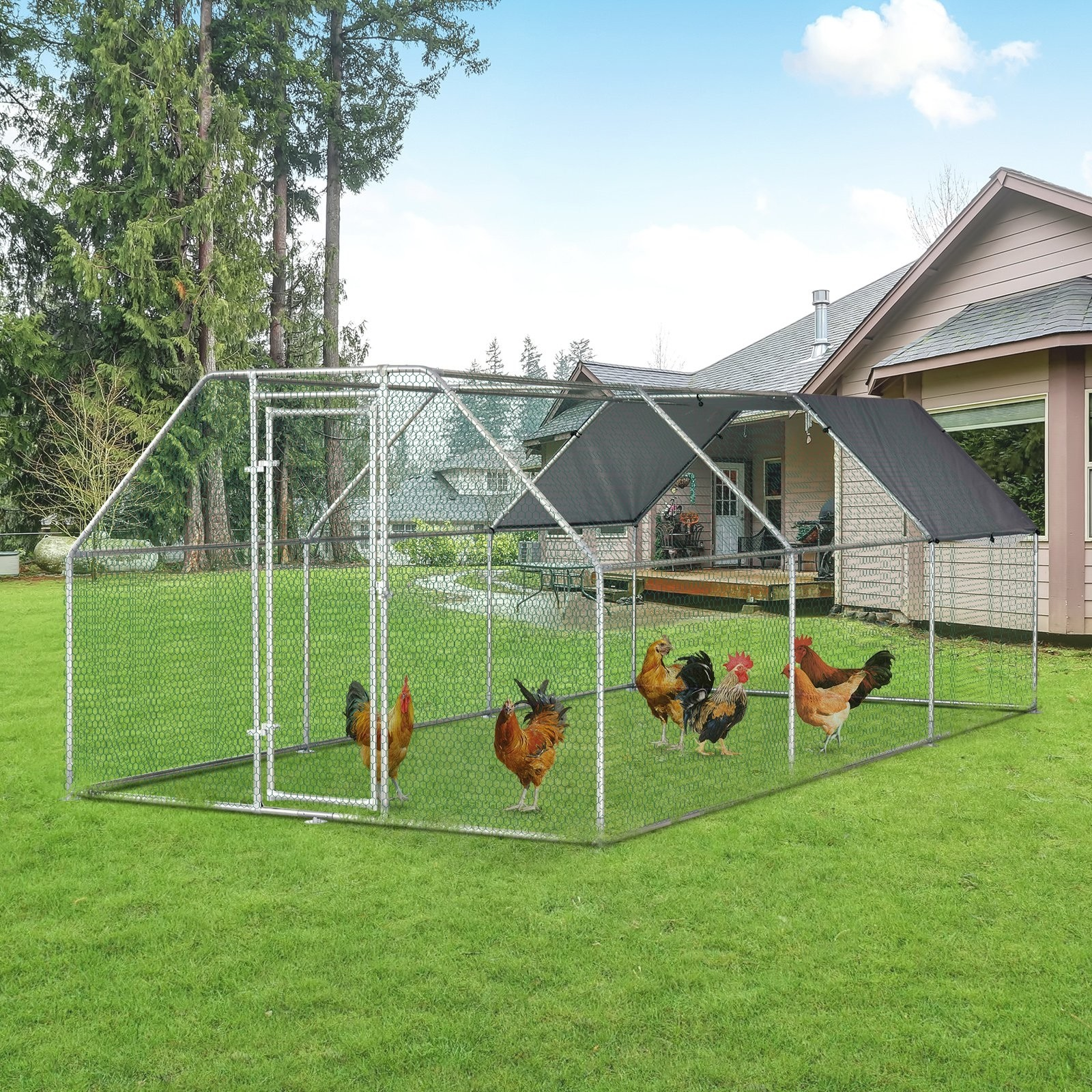 Sharma Galvanized Metal Chicken Coop Cage with Chicken Run