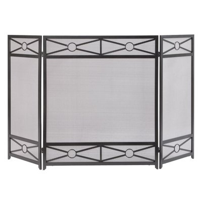 Stylish 3 Panel Steel Fireplace Screen