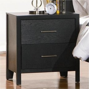 Contemporary Black Wood 2-Drawer Night Stand - Coaster 201652