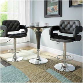 CorLiving DAB-909-B Tufted Adjustable Bar Stool with Armrests, Black Leatherette, Set of 2