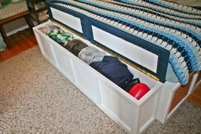 Storage bench for foot of bed
