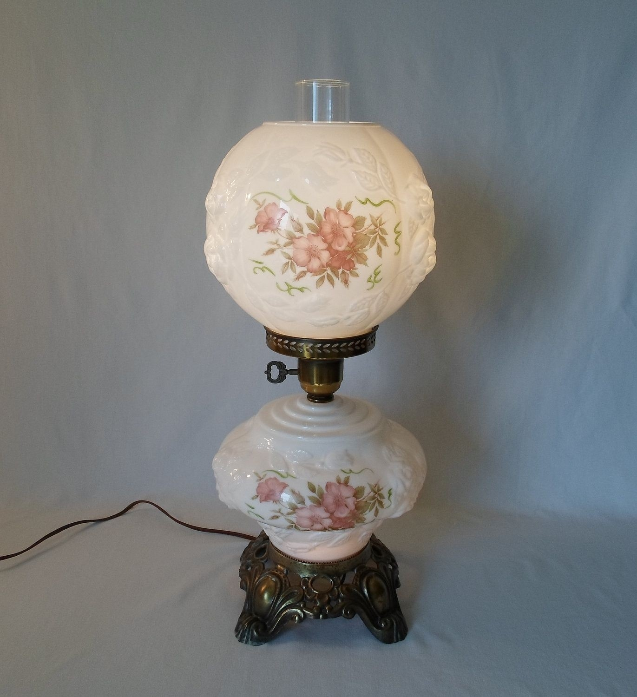 Vintage clear crystal large hurricane lamp