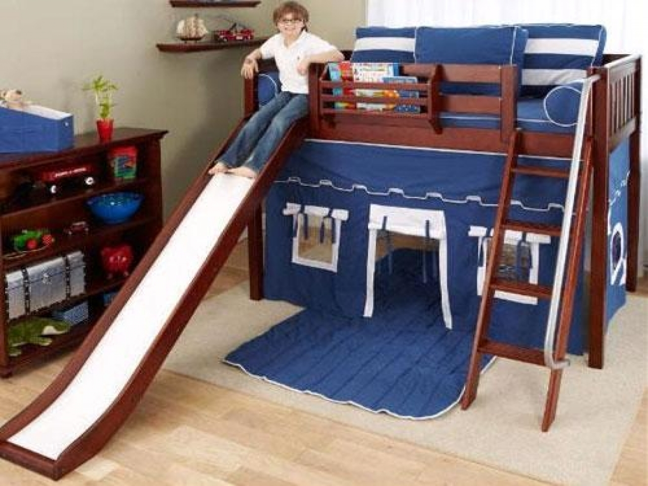Picture of: Bunk Bed With Slide And Tent Ideas On Foter