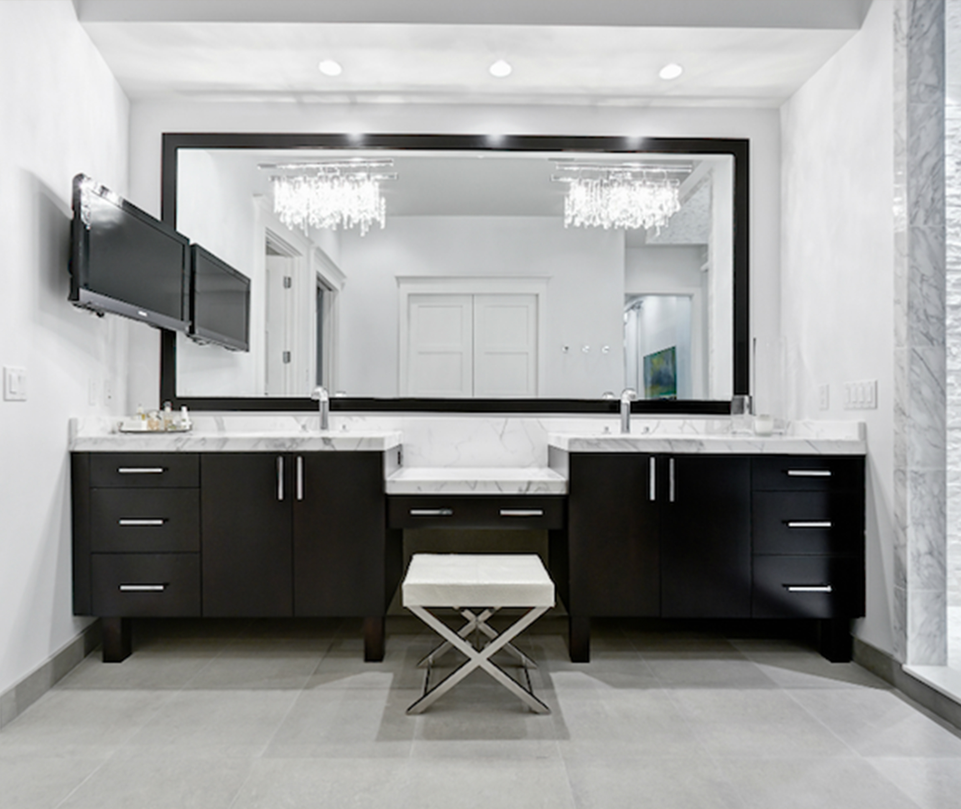 Image of: Modern Vanity Chairs For Bathroom Image Of Bathroom And Closet
