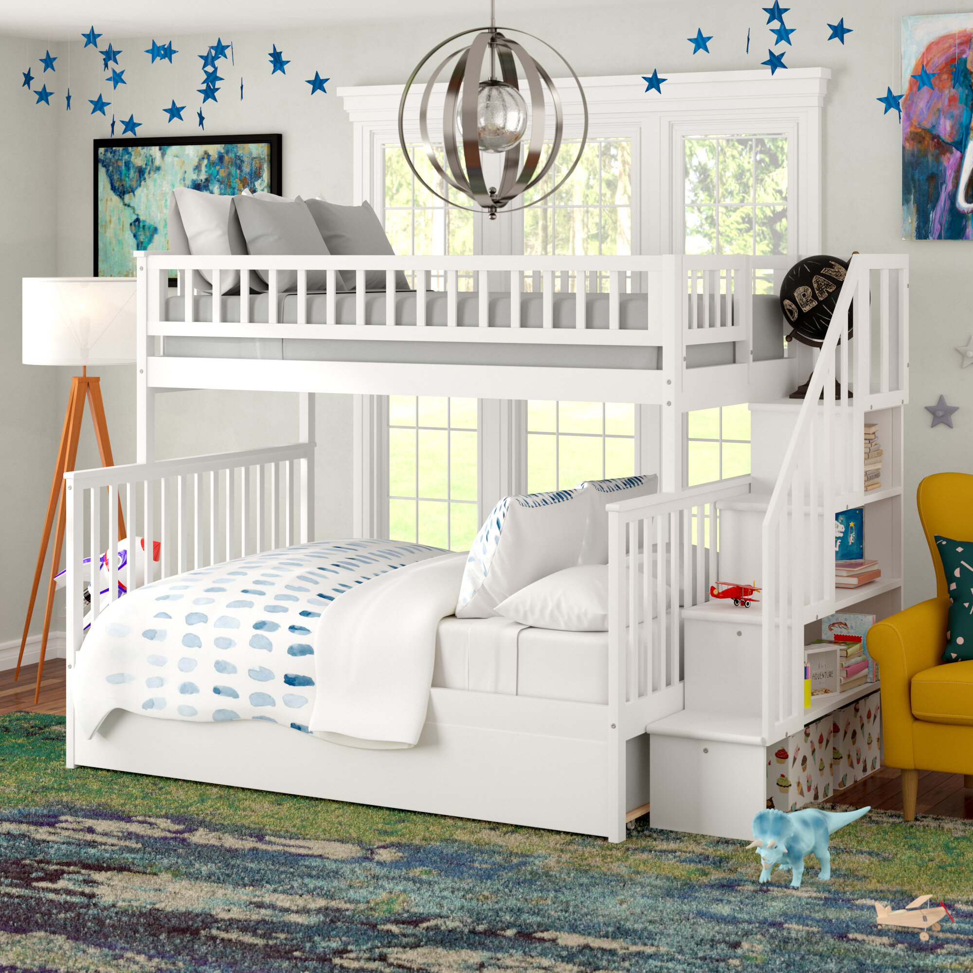 Picture of: Double Bunk Beds With Stairs Ideas On Foter