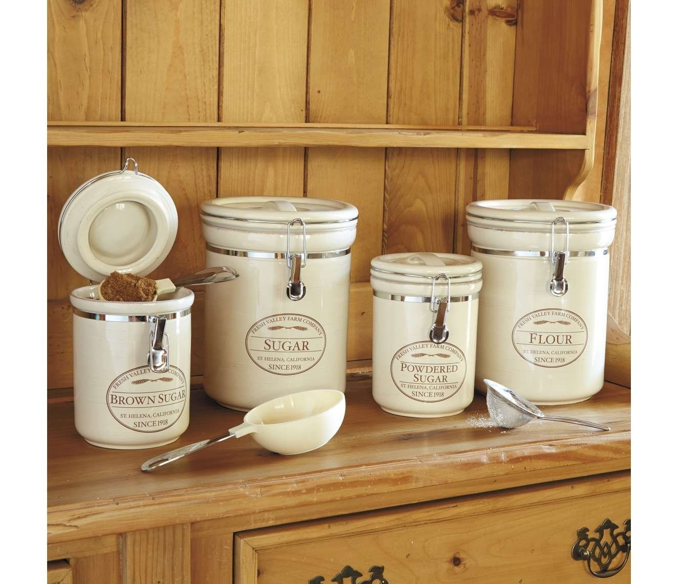 WITH LIDS 8 PIECE METAL SET OF CANISTERS FOR YOUR DOLL HOUSE KITCHEN