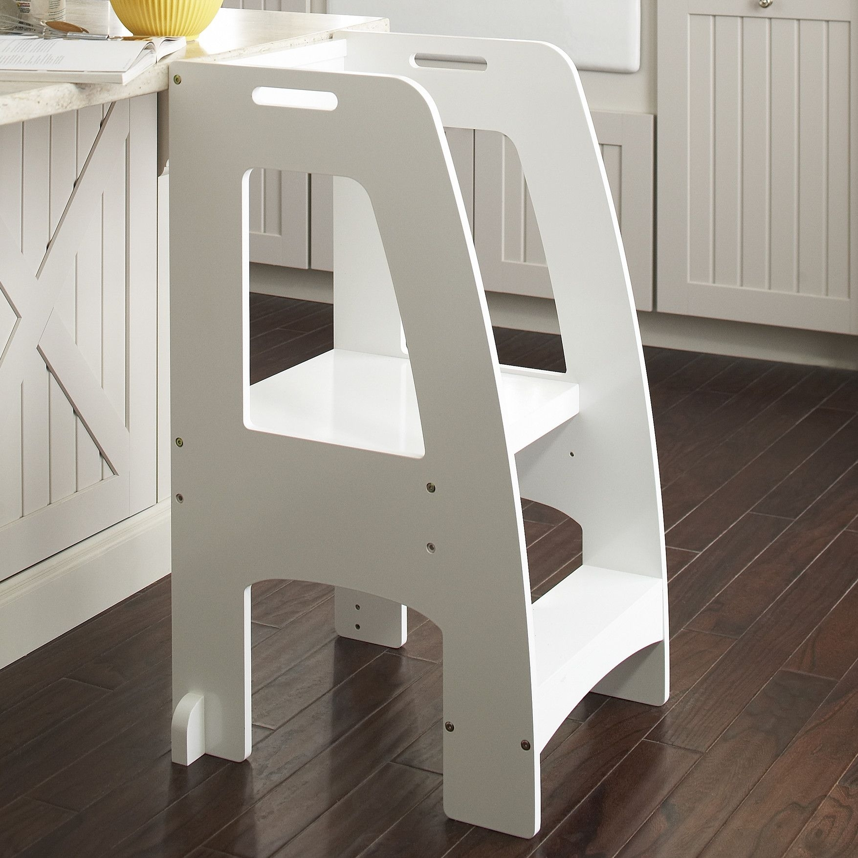 Bamboo 2 Step Stool with Non-Slip Step Treads and 2 Cutout Handles