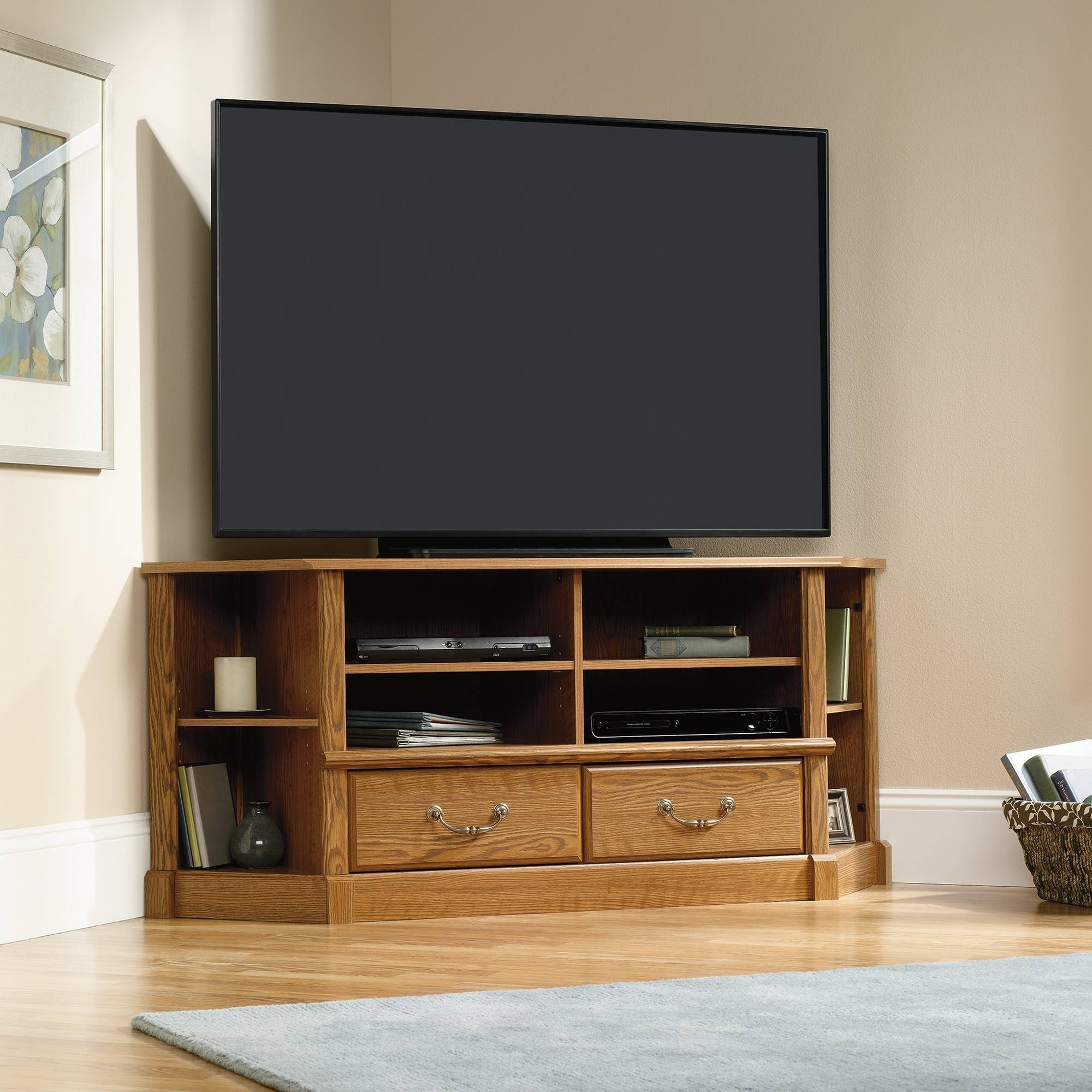 Picture of: Oak Corner Tv Stands For Flat Screens Ideas On Foter