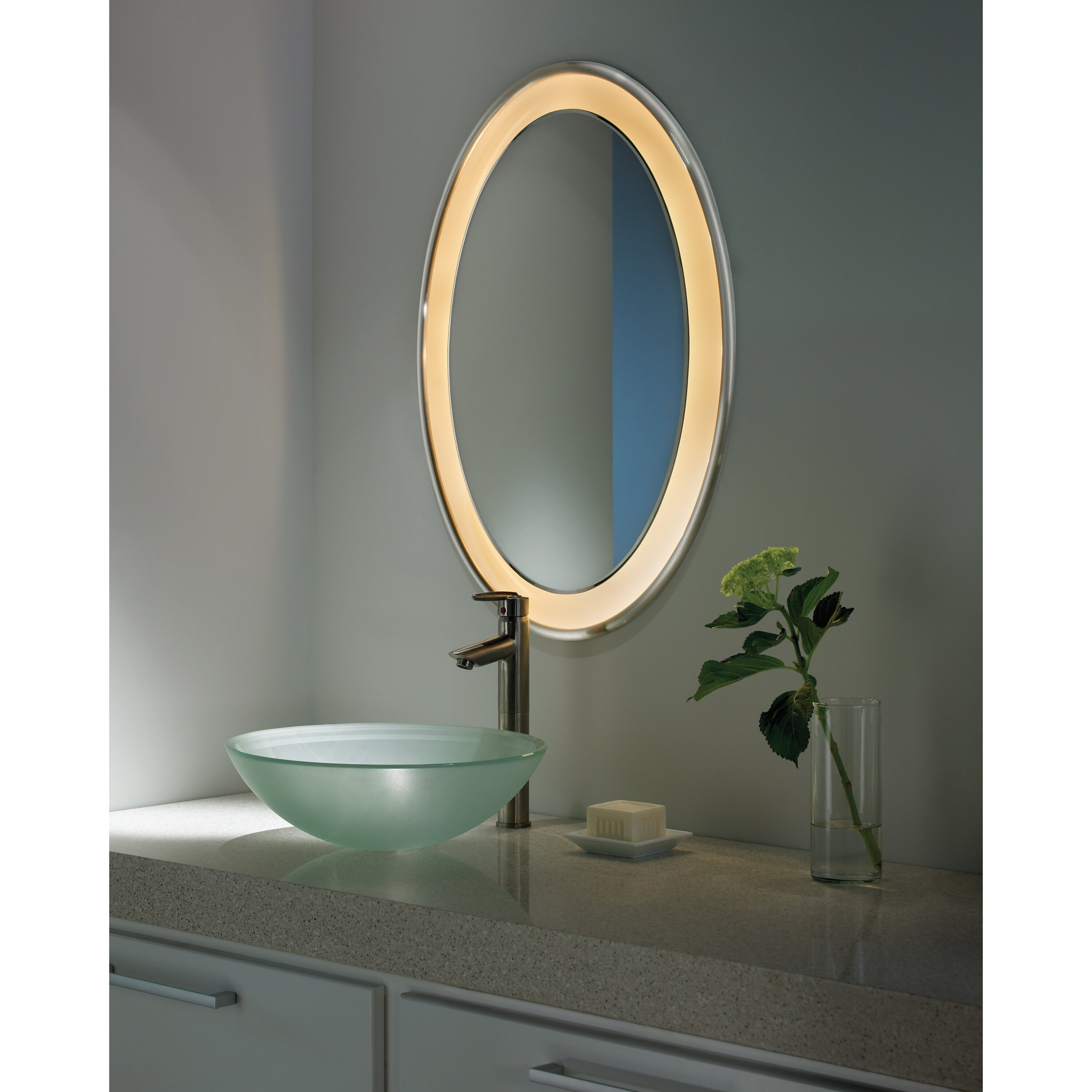 small oval bathroom mirror