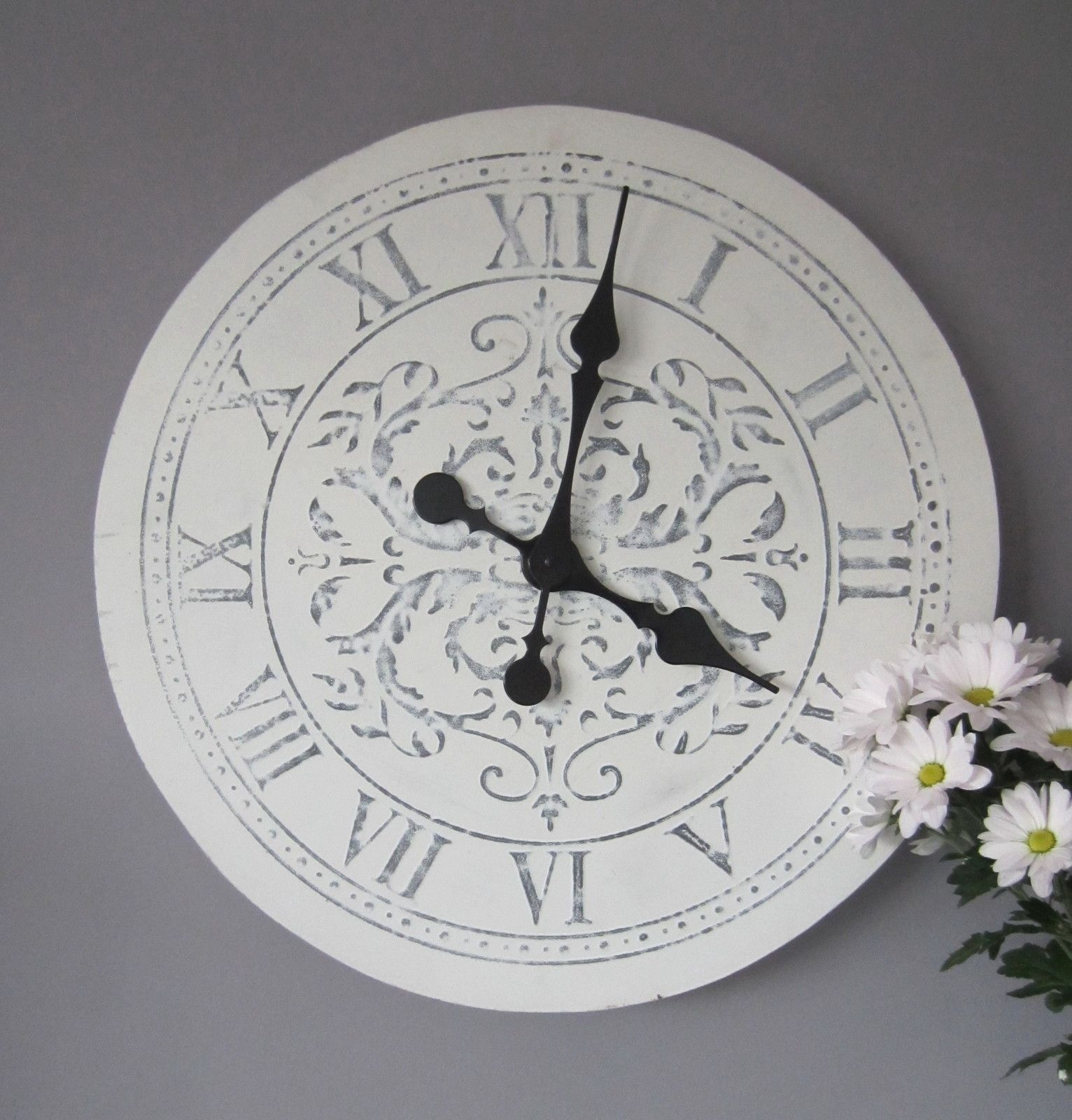 Grey Home Decor Shabby Chic Vintage Small Wall Clock Kings Cross Gift White