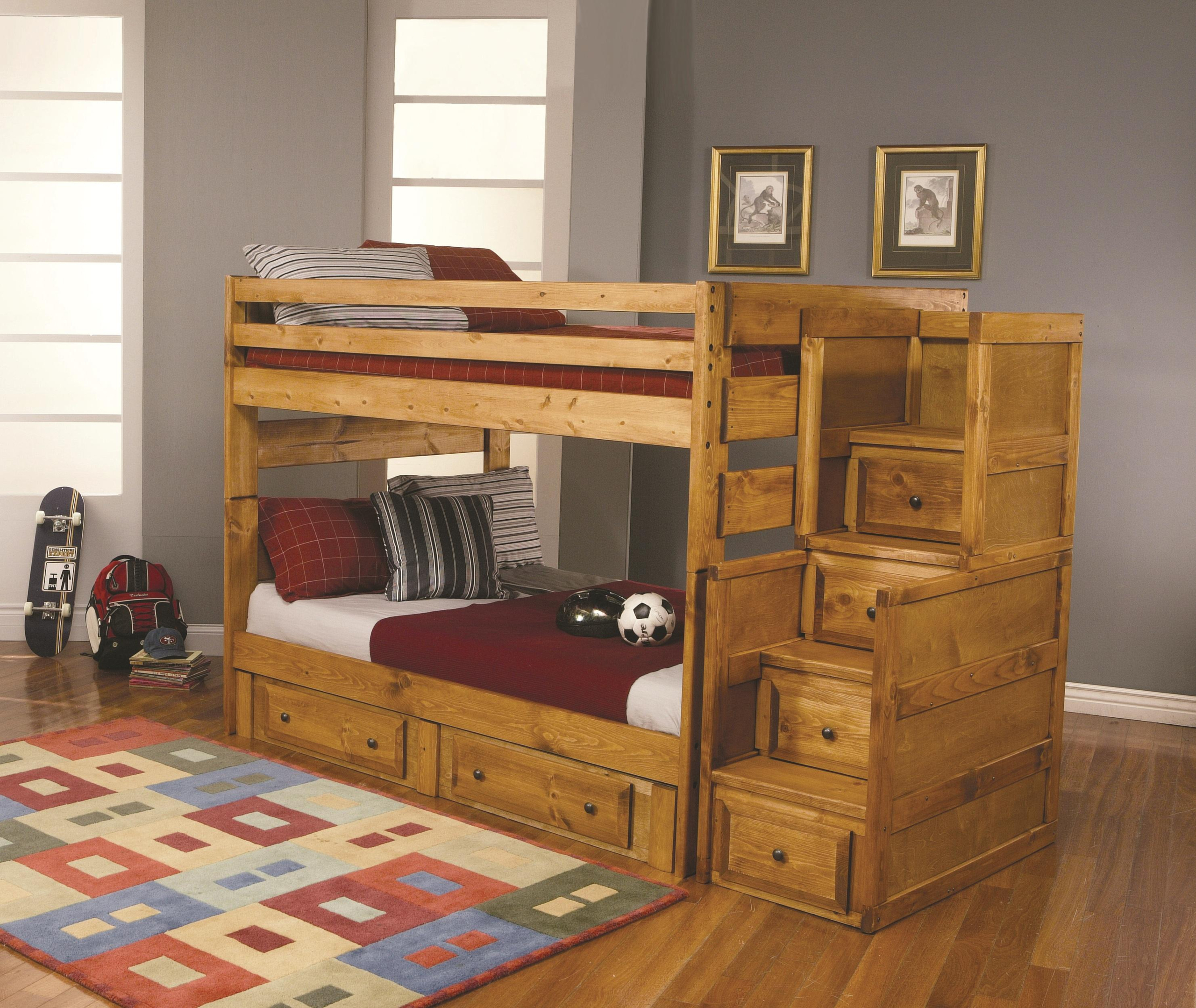 Picture of: Solid Wood Bunk Beds With Stairs Ideas On Foter